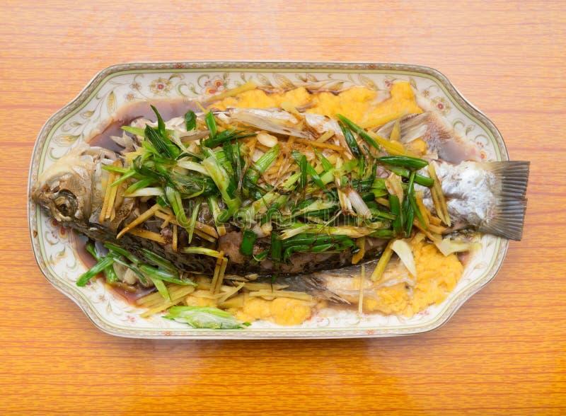 Φρέσκα βρασμένα στον ατμό ολόκληρα ψάρια που καλύπτονται με τα κρεμμύδια χορταριών στοκ φωτογραφίες με δικαίωμα ελεύθερης χρήσης