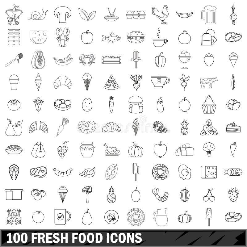 100 φρέσκα εικονίδια τροφίμων καθορισμένα, περιγράφουν το ύφος διανυσματική απεικόνιση