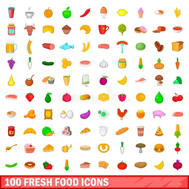 100 φρέσκα εικονίδια τροφίμων καθορισμένα, ύφος κινούμενων σχεδίων απεικόνιση αποθεμάτων
