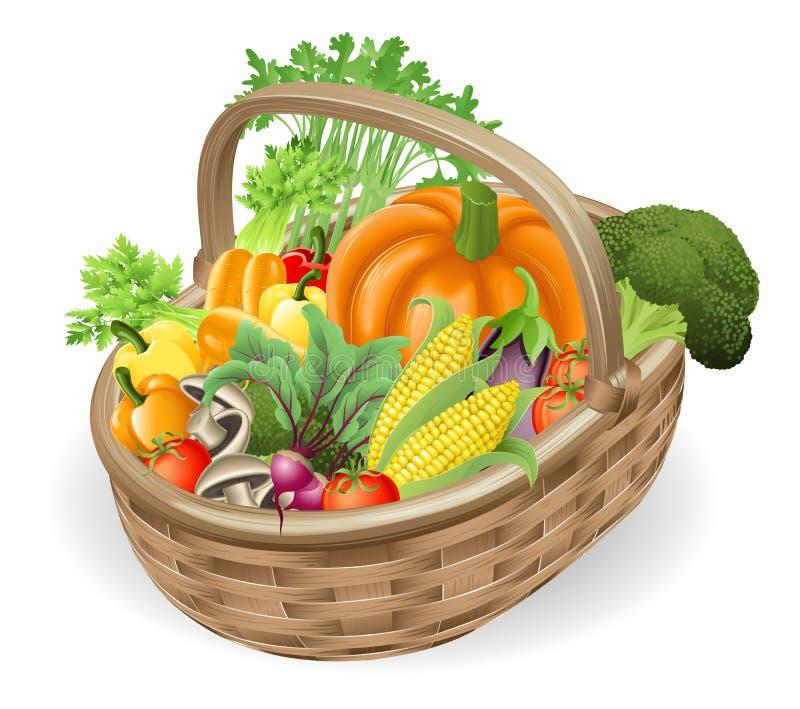 φρέσκα λαχανικά καλαθιών διανυσματική απεικόνιση
