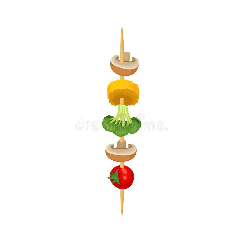 Φρέσκα λαχανικά σε ένα ξύλινο οβελίδιο E απεικόνιση αποθεμάτων