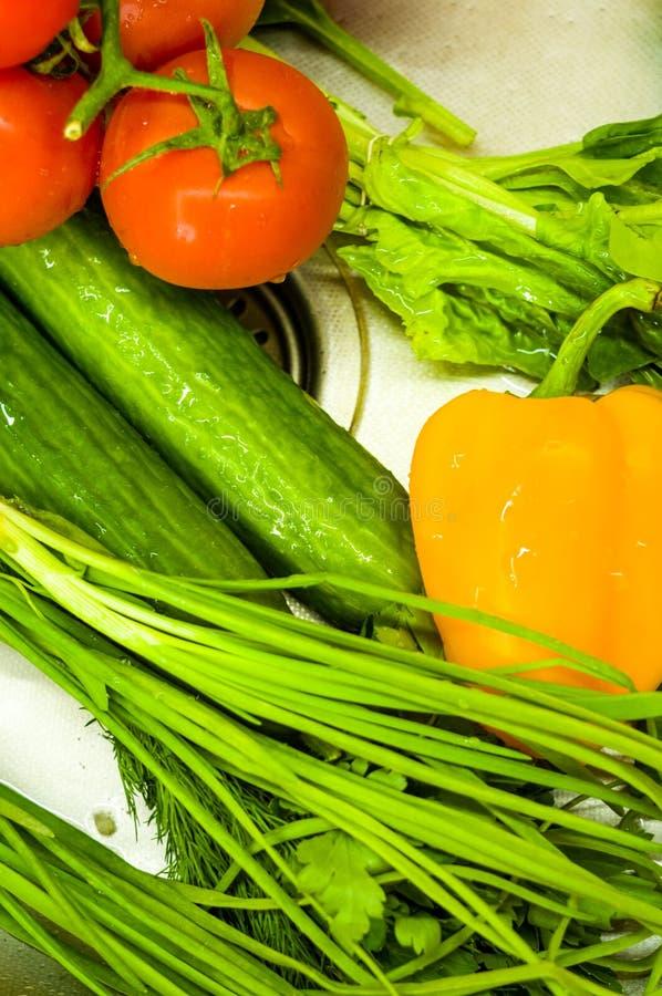 φρέσκα ολόκληρα λαχανικά - οι ντομάτες, πράσινα κρεμμύδια, αγγούρια, το κίτρινο πιπέρι κουδουνιών, ο μαϊντανός και το μαρούλι, κλ στοκ φωτογραφία