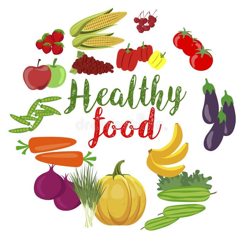 Φρέσκα οργανικά λαχανικά και φρούτα με το healty κείμενο τροφίμων ελεύθερη απεικόνιση δικαιώματος