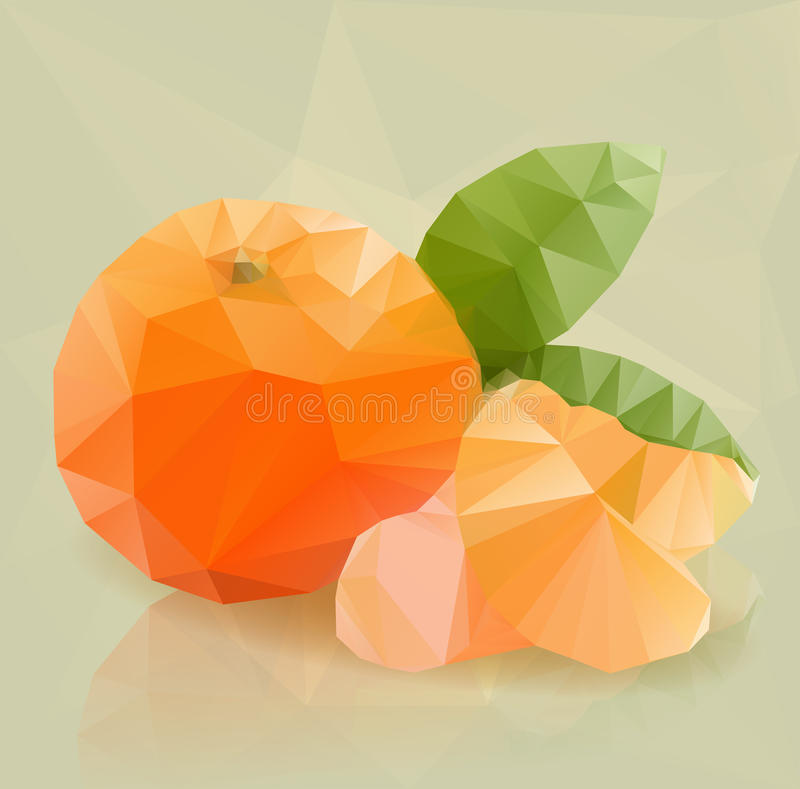 Φρέσκα πορτοκαλιά φρούτα, στο σύγχρονο triangulated ύφος διανυσματική απεικόνιση