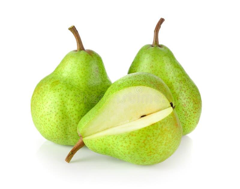 Φρέσκα πράσινα αχλάδια που απομονώνονται στο άσπρο υπόβαθρο στοκ εικόνες