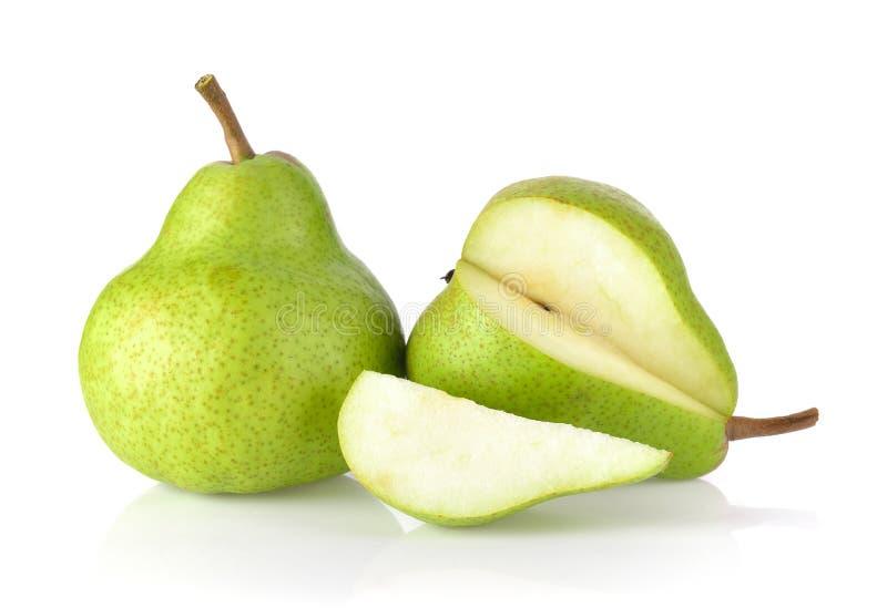 Φρέσκα πράσινα αχλάδια που απομονώνονται στο άσπρο υπόβαθρο στοκ εικόνες με δικαίωμα ελεύθερης χρήσης