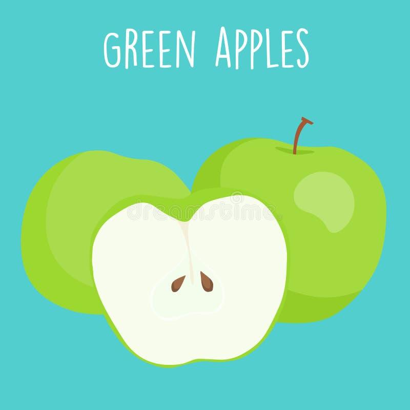 Φρέσκα πράσινα μήλα γραφικά διανυσματική απεικόνιση