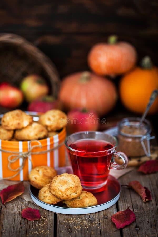 Φρέσκα σπιτικά μπισκότα εύγευστων μήλων και φλυτζάνι του καυτού κόκκινου τσαγιού στοκ εικόνες