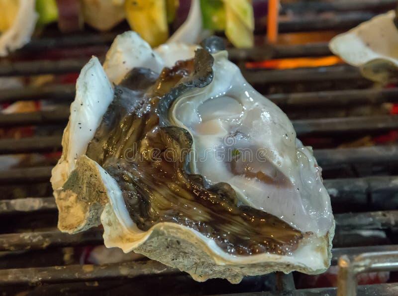 Φρέσκα στρείδια κοχυλιών που μαγειρεύουν τα θαλασσινά στοκ εικόνες με δικαίωμα ελεύθερης χρήσης