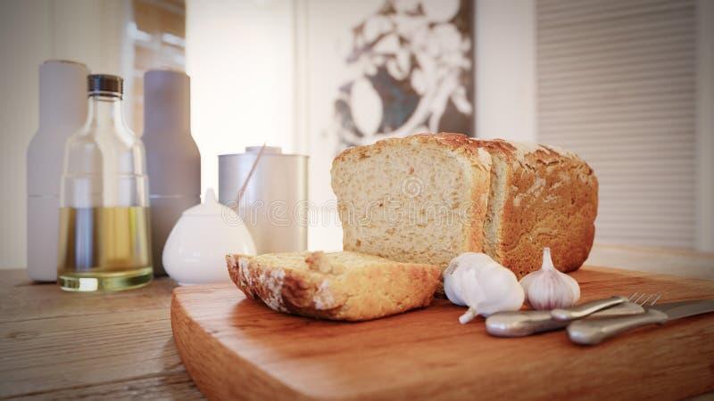 Φρέσκα φέτα ψωμιού, σκόρδο και μπουκάλι ελαιολάδου στον αγροτικό πίνακα στοκ εικόνα