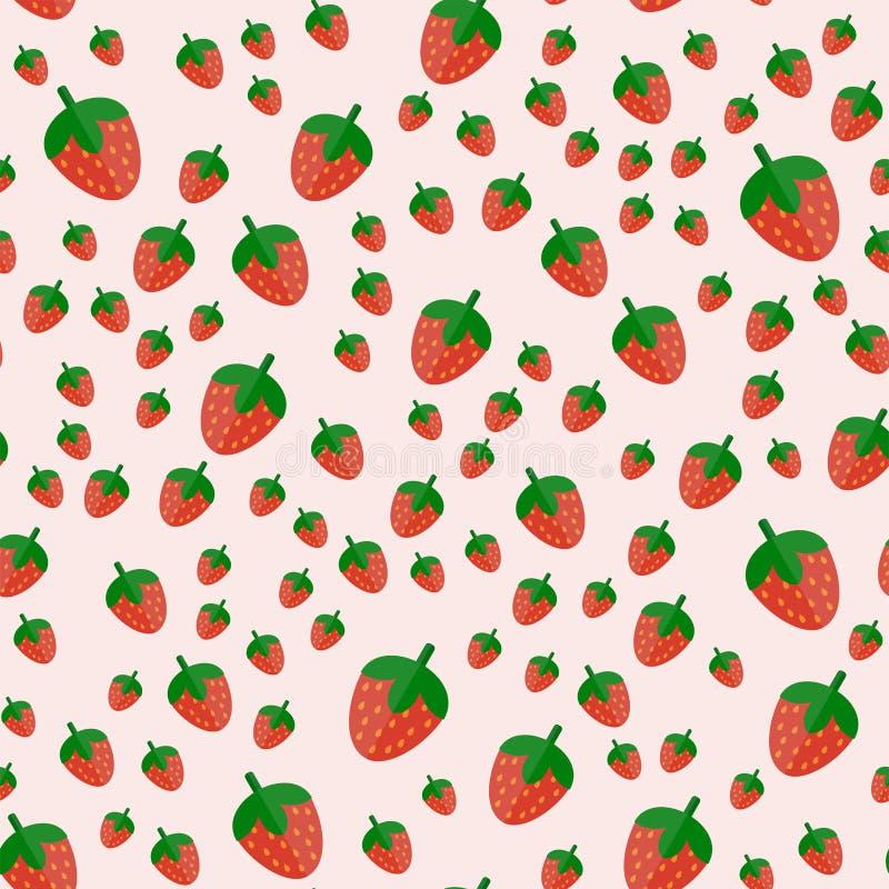 Φρέσκα φρούτα φραουλών κινούμενων σχεδίων στο επίπεδο θερινό σχέδιο τροφίμων σχεδίων ύφους άνευ ραφής διανυσματική απεικόνιση