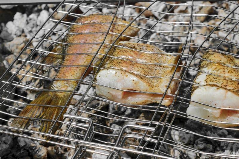 Φρέσκα ψάρια λούτσων που προετοιμάζονται σε έναν ξυλάνθρακα φωτιών στην επαρχία στοκ εικόνες