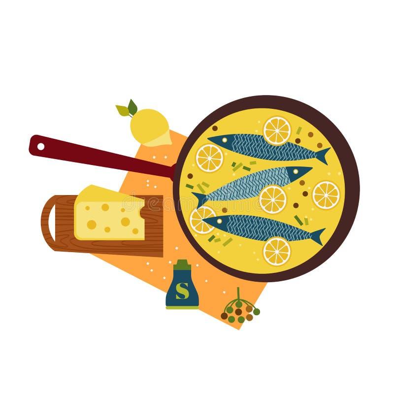 Φρέσκα ψάρια που μαγειρεύονται με το τυρί στο παν επίπεδο συρμένο χέρι απεικόνιση αποθεμάτων
