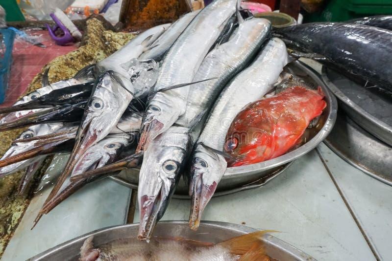 Φρέσκα ψάρια barracuda στην αγορά αγροτών στοκ εικόνες