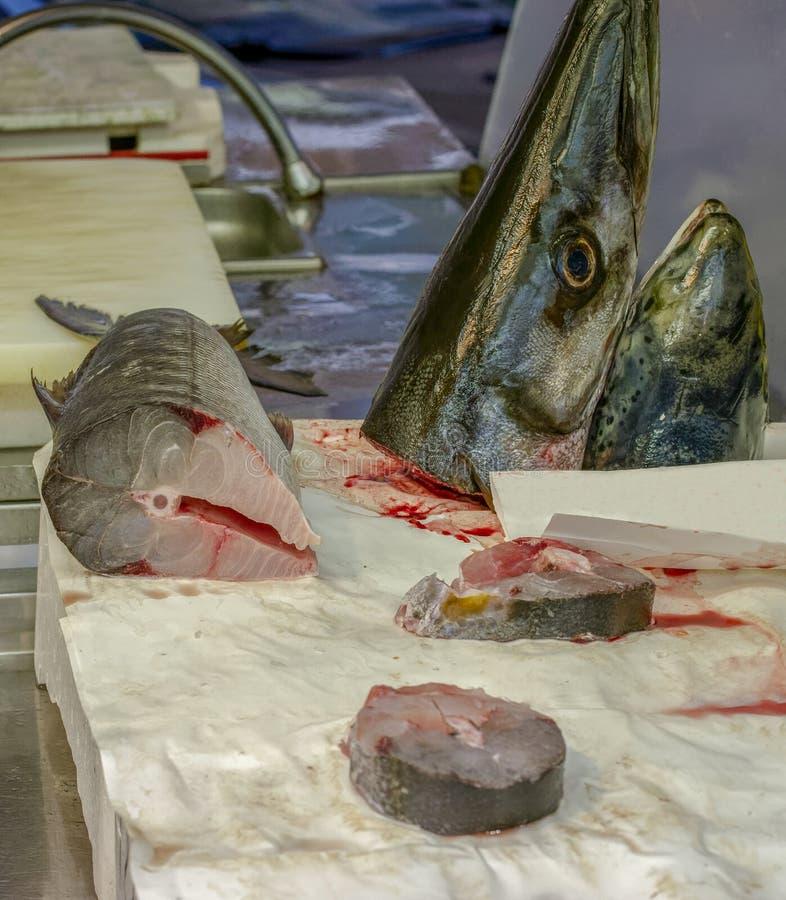 Φρέσκα ψάρια barracuda στην αγορά στοκ εικόνα