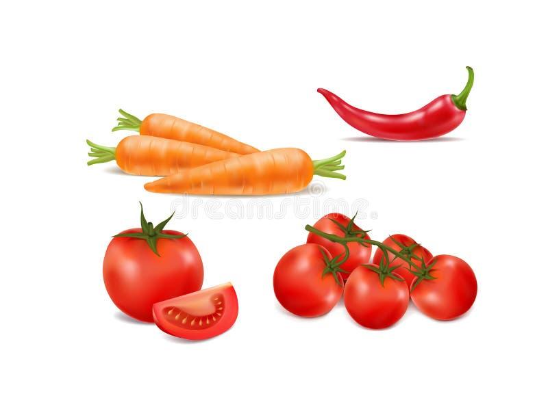Φρέσκα ώριμα λαχανικά στο άσπρο υπόβαθρο απεικόνιση αποθεμάτων