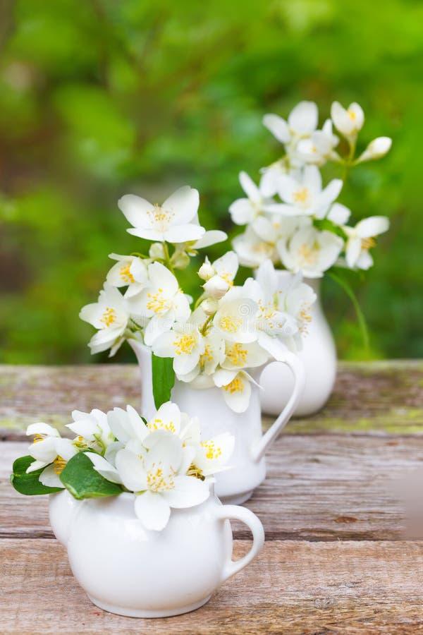 Φρέσκα jasmine λουλούδια σε τρία μικρά βάζα πορσελάνης στοκ φωτογραφία