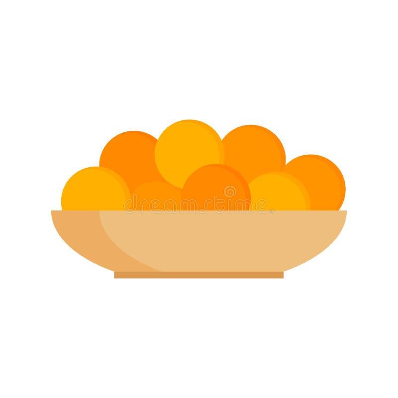 Φρέσκα tangerines πορτοκάλια στη διανυσματική απεικόνιση πιάτων διανυσματική απεικόνιση