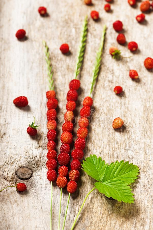 Φρέσκες άγριες φράουλες στη λεπίδα τρία της χλόης σε μια παλαιά ξύλινη επιφάνεια στοκ εικόνες