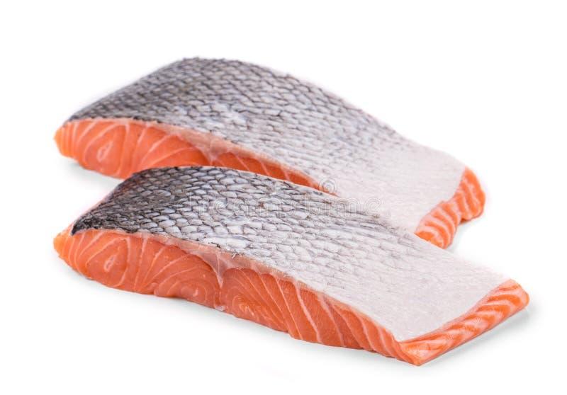 Φρέσκες άψητες κόκκινες φέτες λωρίδων ψαριών στοκ εικόνες