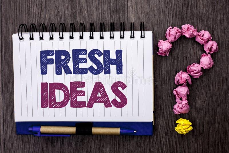 Φρέσκες ιδέες κειμένων γραφής Έννοια τη δημιουργική στρατηγική έννοιας φαντασίας σκέψης οράματος που γράφεται που σημαίνει στο βι στοκ εικόνα με δικαίωμα ελεύθερης χρήσης
