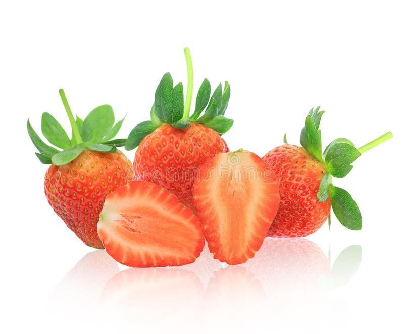 φρέσκες κόκκινες φράουλες ομάδας στοκ εικόνες