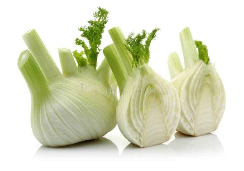 Φρέσκες λαχανικό και φέτα μαράθου στο άσπρο υπόβαθρο στοκ φωτογραφία