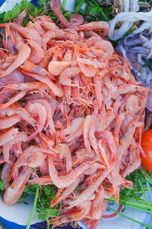 Φρέσκες παγωμένες γαρίδες γαρίδων στο άσπρο πιάτο στοκ εικόνα με δικαίωμα ελεύθερης χρήσης