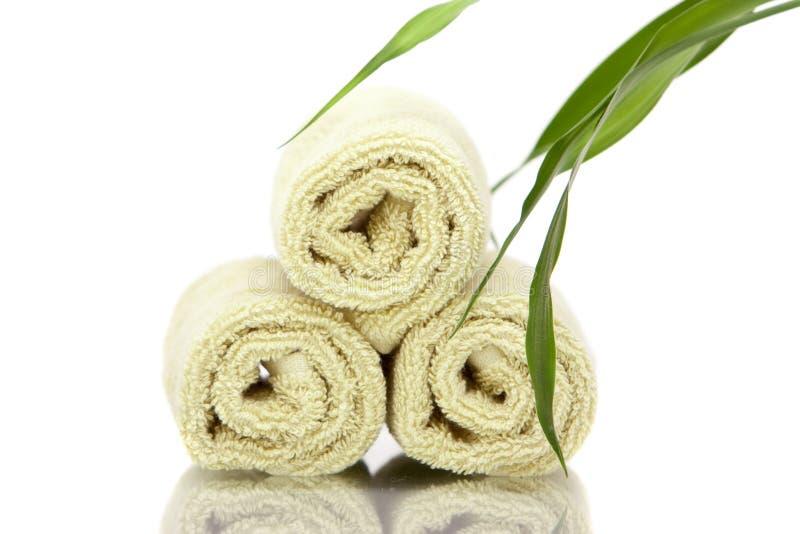 φρέσκες πετσέτες SPA μπαμπού στοκ εικόνα