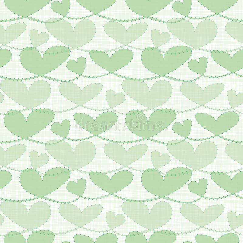 Φρέσκες πράσινες διαφανείς καρδιές κρητιδογραφιών με τη σύσταση πλέγματος watercolor Άνευ ραφής διανυσματικό σχέδιο στο άσπρο υπό διανυσματική απεικόνιση