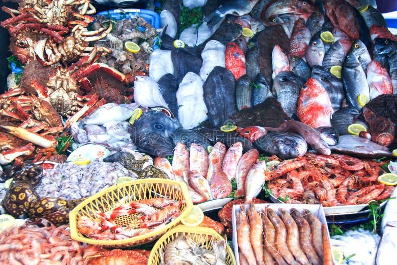 Φρέσκια αγορά Essaouira Μαρόκο στάβλων θαλασσινών στοκ εικόνες