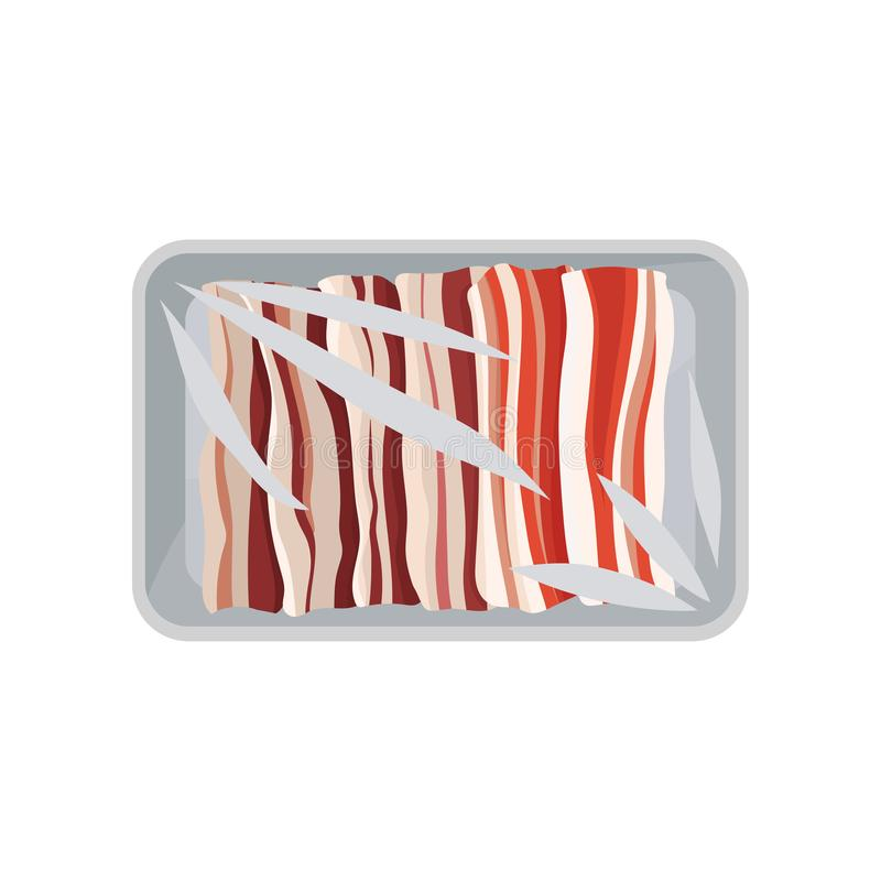 Φρέσκια ακατέργαστη συσκευασία μπέϊκον, πλαστικό εμπορευματοκιβώτιο δίσκων τροφίμων με τη διαφανή διανυσματική απεικόνιση κάλυψης διανυσματική απεικόνιση