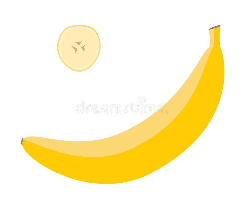 Φρέσκια κίτρινη μπανάνα και μια φέτα Ακατέργαστο διάνυσμα τροφίμων στοκ εικόνα