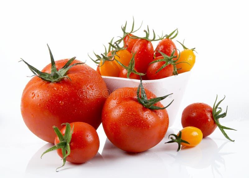 Φρέσκια κόκκινη ντομάτα με τον πράσινο μίσχο στο άσπρο υπόβαθρο στοκ εικόνες