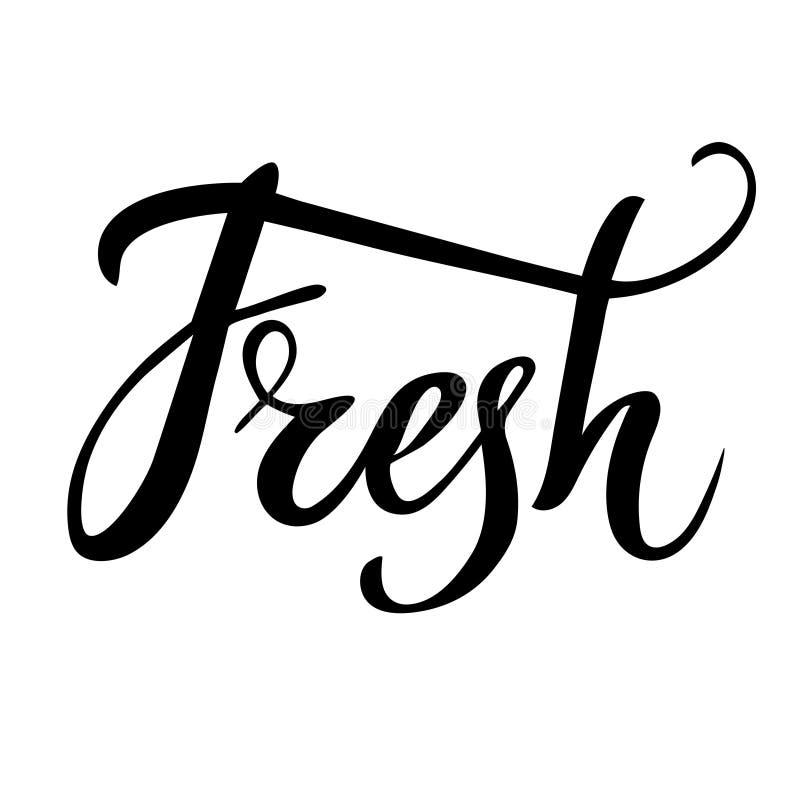 Φρέσκια οργανική τροφή λογότυπων Εγγραφή χεριών, καλλιγραφία στοκ φωτογραφία με δικαίωμα ελεύθερης χρήσης