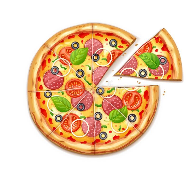 Φρέσκια πίτσα με την ντομάτα, τυρί, ελιά, λουκάνικο, κρεμμύδι διανυσματική απεικόνιση