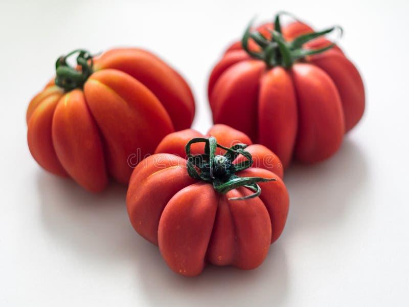 Φρέσκια ραβδωτή ντομάτα με sepal στοκ φωτογραφία με δικαίωμα ελεύθερης χρήσης