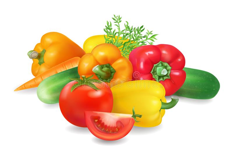 Φρέσκια ρεαλιστική ομάδα λαχανικών Υγιή τρόφιμα, ζωηρόχρωμη ρεαλιστική διανυσματική απεικόνιση διανυσματική απεικόνιση