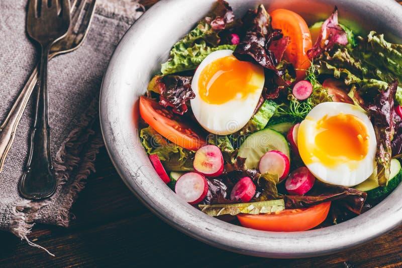 Φρέσκια σαλάτα άνοιξη με τα homegrown λαχανικά και τα βρασμένα αυγά στοκ φωτογραφίες