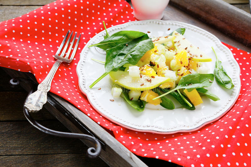 Φρέσκια σαλάτα με το μήλο, το σέλινο και το πορτοκάλι στοκ εικόνες με δικαίωμα ελεύθερης χρήσης