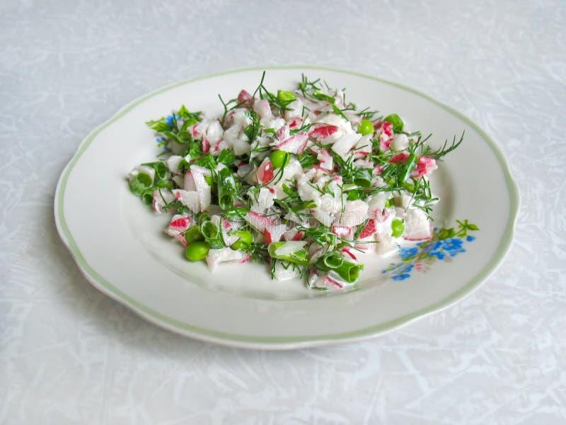 Φρέσκια σαλάτα με το ραδίκι και τα πράσινα στοκ φωτογραφία