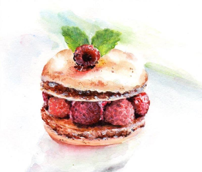 Φρέσκια τηγανίτα με τα γλυκά μούρα και τα φύλλα μεντών διανυσματική απεικόνιση
