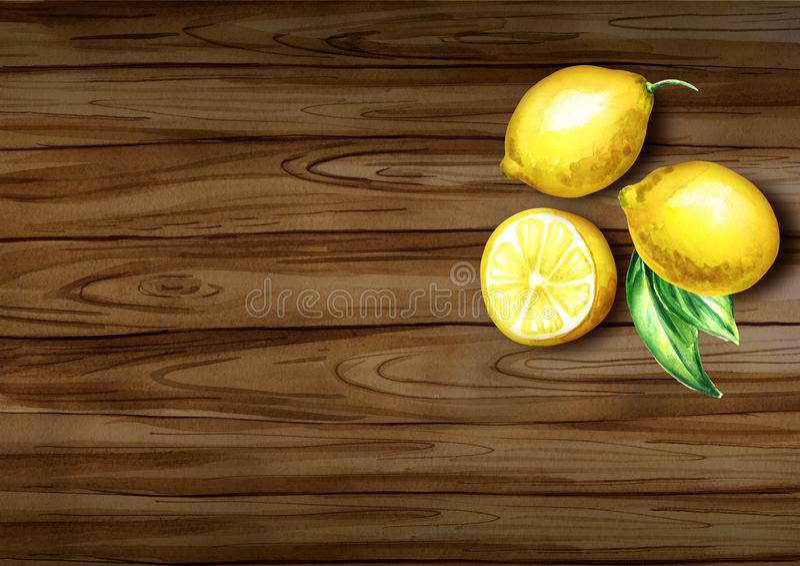 Φρέσκια τοπ άποψη λεμονιών σχετικά με τα σύνορα φυσικός οργανικός τροφίμ&o Συρμένη χέρι ανασκόπηση Watercolor στοκ φωτογραφία με δικαίωμα ελεύθερης χρήσης
