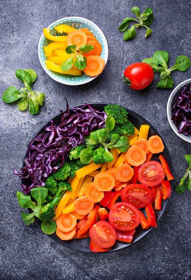 Φρέσκια υγιής χορτοφάγος σαλάτα ουράνιων τόξων στοκ εικόνα με δικαίωμα ελεύθερης χρήσης