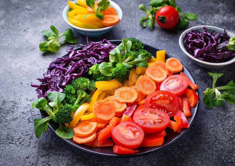 Φρέσκια υγιής χορτοφάγος σαλάτα ουράνιων τόξων στοκ εικόνες