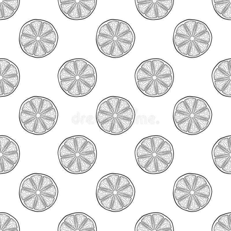 Φρέσκια φέτα λεμονιών, το μισό από το πορτοκάλι Διάνυσμα στο ύφος doodle και σκίτσων διανυσματική απεικόνιση