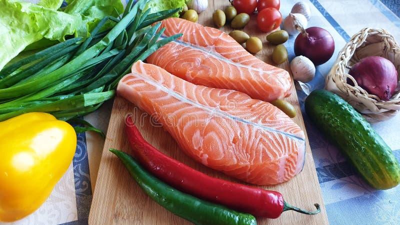 Φρέσκος ακατέργαστος σολομός δύο ψαριών μπριζόλες με το πράσινο κρεμμ στοκ φωτογραφίες