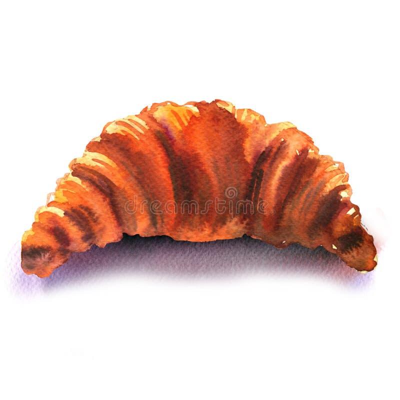 Φρέσκος γαλλικός croissant στο άσπρο υπόβαθρο στοκ φωτογραφία