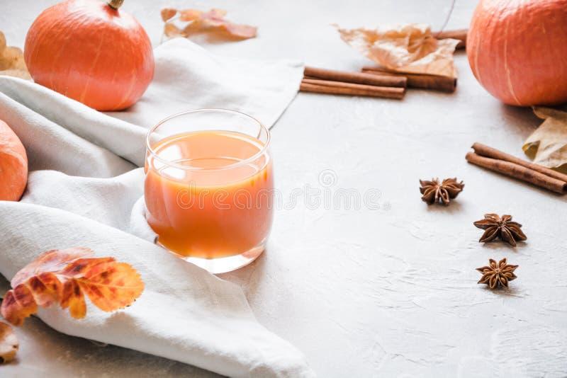 Φρέσκος καταφερτζής ή χυμός κολοκύθας Ζεστό ποτό φθινοπώρου, πτώσης ή χειμώνα Άνετο υγιές ποτό στοκ φωτογραφίες