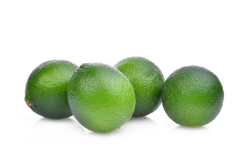 Φρέσκος πράσινος ασβέστης τέσσερα που απομονώνεται στο λευκό στοκ εικόνα με δικαίωμα ελεύθερης χρήσης